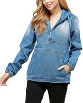 Women's Cotton Casual Hoodie Half Zip Pullover Denim Jean Jacket - M image 2