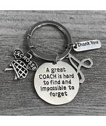 Personalized Lacrosse Coach Keychain with Letter Charm, Unisex Lacrosse ... - $11.99