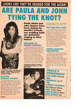 Paula Abdul teen magazine pinup clipping are Paula and John tying the