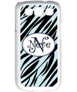 Curlz Monogrammed Baby Blue and Black Zebra Design on Samsung Galaxy S3 ... - $15.95
