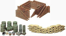 3 Tamiya Military Models - Sand Bags, Wall, Oil Drums with Buckets  - $24.74