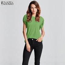 ZANZEA Fashion 2018 New Summer Womens Tassel Shirts Short Sleeve Solid 7 Colors  - $45.60
