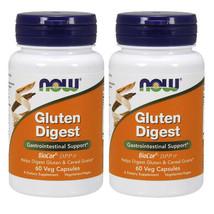 NOW Foods Gluten Digest 2X60 Caps Enzyme Blend Protease/Glucoamylase/Amylase - $23.30