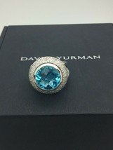 David Yurman 925 Diamonds 14 mm Blue Topaz Cerise Ring sz 7 - $462.48