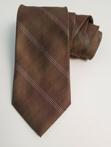 Kenneth Cole Brown Print Neck Tie 100% Silk 58.5 Inch Classic Men Necktie - $29.39