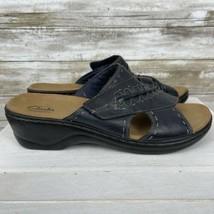 Clarks Bendables Platform Sandals Women's Size 11M Blue/Black Leather - $18.81
