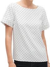 Banana Republic Womens White Polka Dot Print Banded Sleeve Top, Medium M... - $49.49