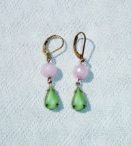 Green & Pink Destash Dangle Earrings with Brass Leverbacks - $14.99