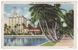 PALM BEACH Florida FL, LAKE TRAIL AND WHITEHALL HOTEL 1930s linen postcard - $3.95
