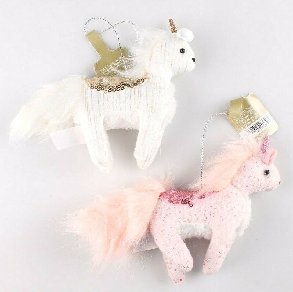 NWT 2 Target Wondershop Enchanted Eve Cloth & Sequin Unicorn Christmas Ornaments