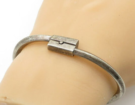 925 Sterling Silver - Vintage Dark Tone Bypass Designed Bangle Bracelet ... - $89.91