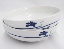 "Arzberg Blue Leaf Cereal Soup Bowls 6"" Cobalt Flowers Lot of 2 Germany Rare - $14.84"