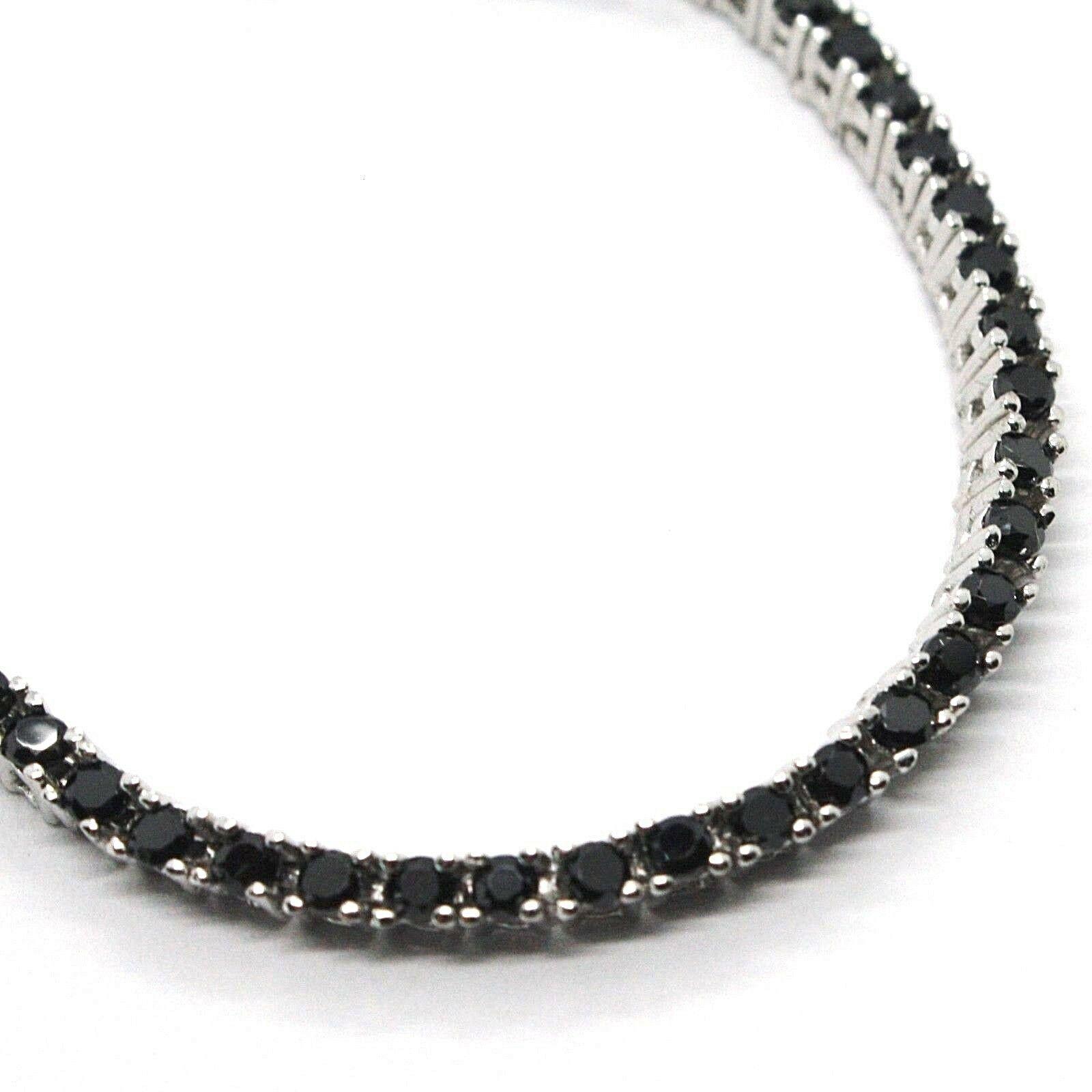 Tennis Bracelet, Silver 925, Zircon Cubic Black, Brilliant Cut, 2 MM