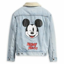 Levi's X Mickey Mouse 90th Trucker Denim Sherpa Jacket 361370010 Size XS... - $106.99