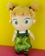 "Disney Store Plush Anna Doll 12"" Stuffed Toy Frozen Toddler Baby Green D... - $14.25"