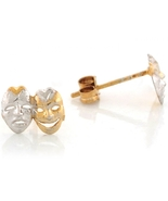 10K or 14K Two Tone Gold Drama Face Theater Mask Stud Earrings - $119.99+