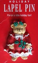 Charming Hallmark Christmas Bear Girl Brooch 1980s vintage - $12.30