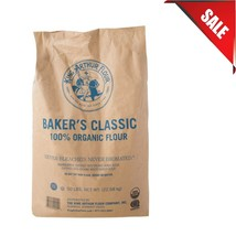 50 lb. Bulk Bag Pantry Supply Baker's Classic Flour Organic Pan Bread Kosher - $117.47