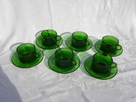 6 Vintage Vereco, France, Emerald Green Glass Round Cups and Saucers - $27.99