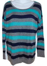 C&C California striped jersey knit top sz M blue & gray 3/4-sleeves - $10.00