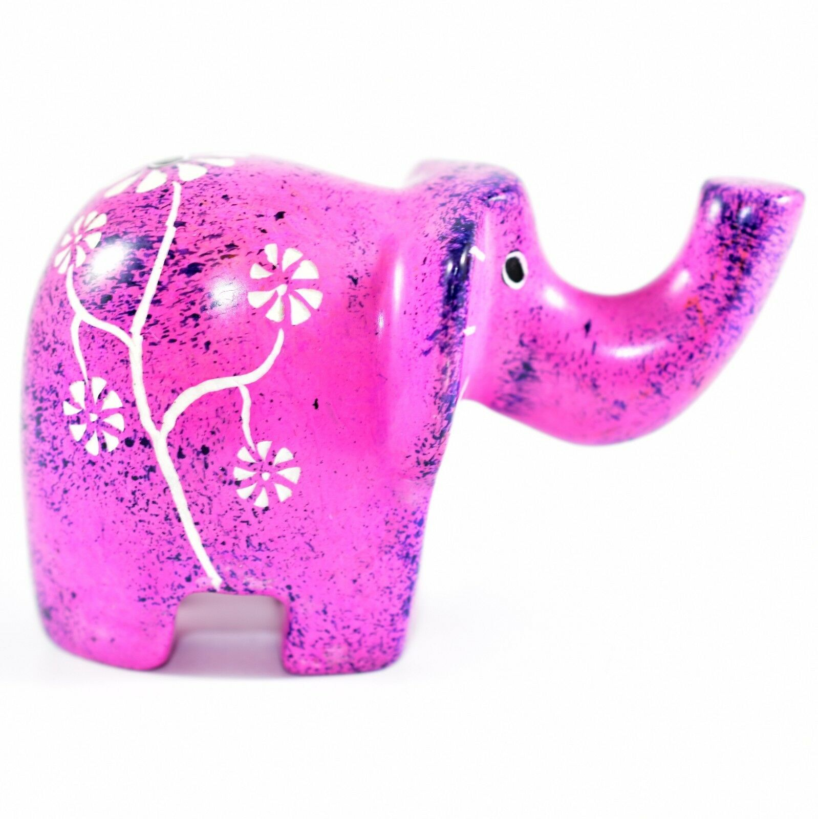 SMOLArt Hand Carved Soapstone Pink Purple Floral Elephant Figurine Made Kenya