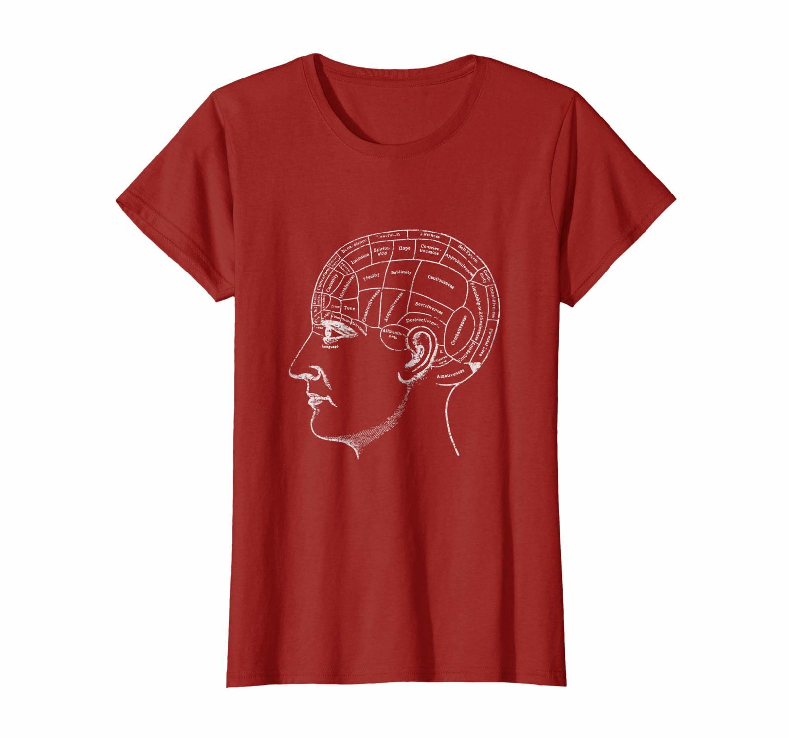 Funny Tee - Vintage Anatomy Shirt - Phrenology Psychology Brain T-Shirt Wowen