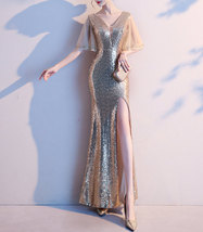 Women Gold Sequin Dress Cap Sleeve High Slit Sequin Maxi Wedding Dress,Plus Size image 5