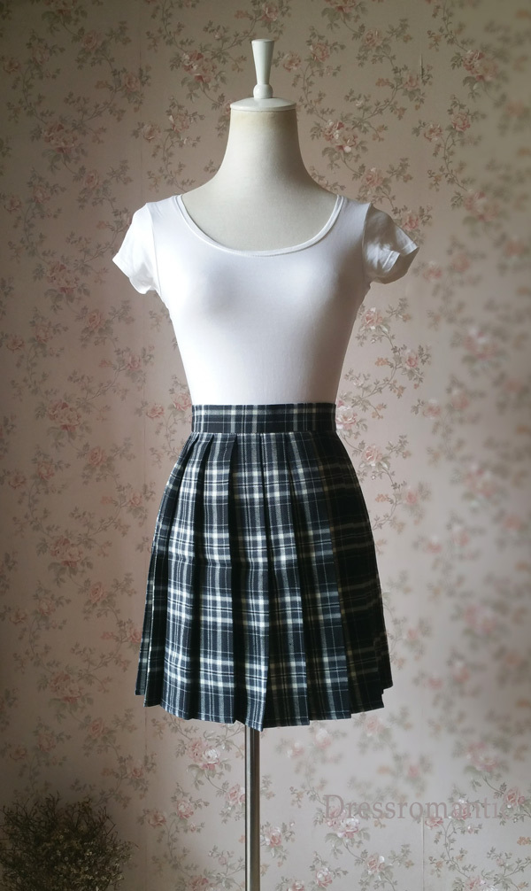 Primary image for Black and White Plaid Skirt Women Girl Mini Black Tartan Skirt High Waisted WT13