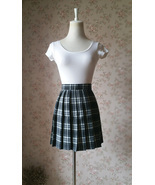 Black and White Plaid Skirt Women Girl Mini Black Tartan Skirt High Wais... - £17.78 GBP