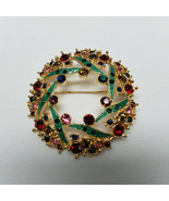 "Napier Christmas Wreath Rhinestones And Enamel Brooch 2"" - $31.68"