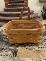 "1994 Longaberger Basket Wooden 7"" X 3 3/4"" X 5"" With Leather Handle & Protector - $20.00"