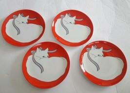 """Fitz & Floyd """"Le Puss"""" Cat Fine Porcelain Salad Dessert Plate Set 4 Japa... - $128.69"""