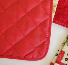 Red Coffee Kitchen Set 7pc Towels Potholders Dishcloths Colorful Cafe Cups image 5