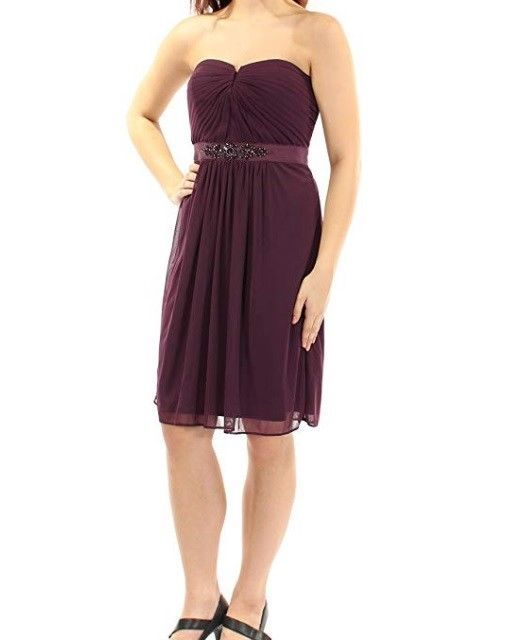 Adrianna Papell Womens Size 4 Purple Strapless Ruched PArty Cocktial Dress $159