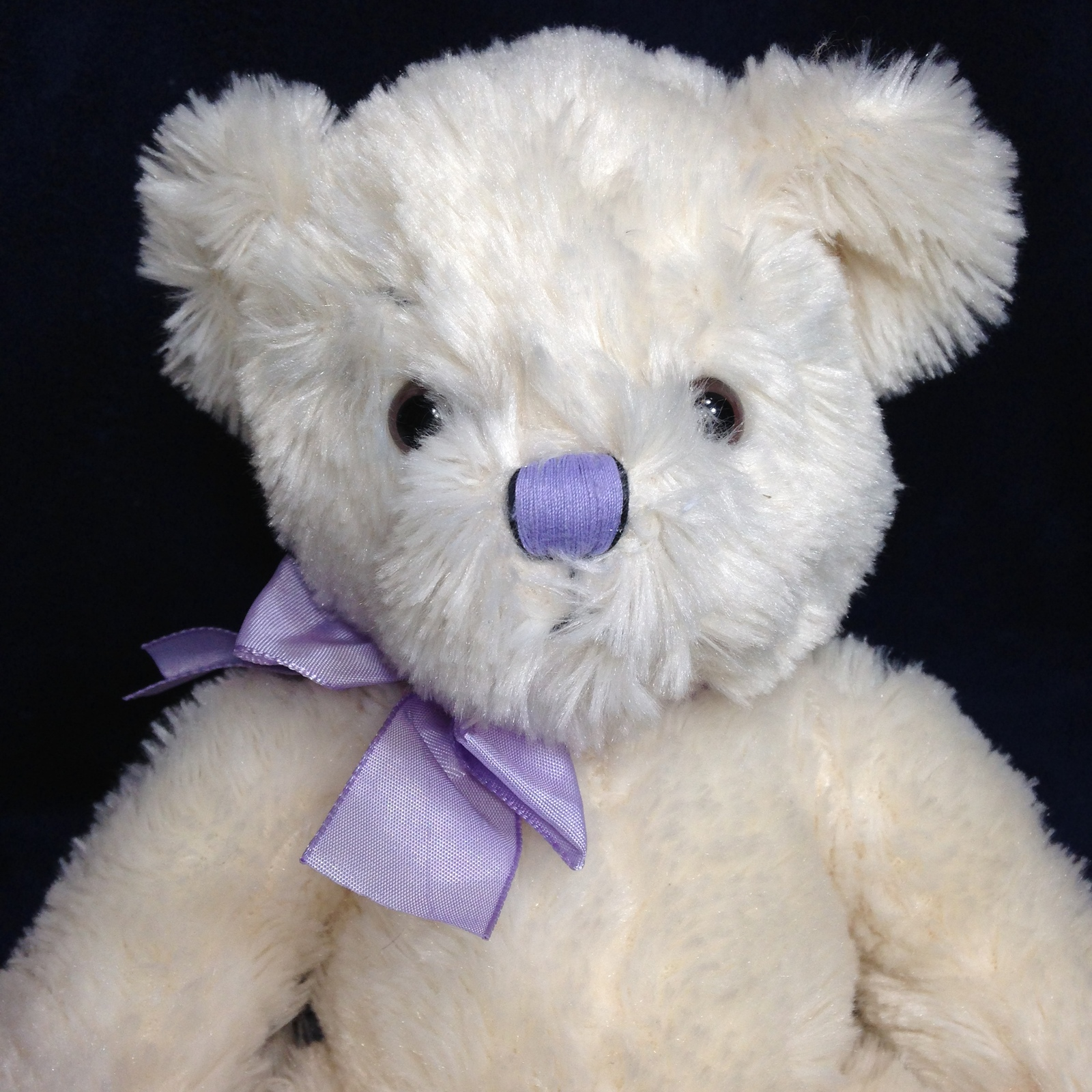 Primary image for Russ Anya Teddy Bear Plush Ivory White Shaggy Stuffed Animal Purple Ribbon 11""