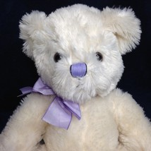 Russ anya teddy bear plush ivory white shaggy stuffed animal purple ribbon 11   2  thumb200