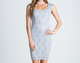 Silver Sequin Sparkle Lace Dress, Silver Lace Sheath Dress, Sweetheart Neckline