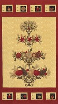 Moda Fabric PINE FRESH by Sandy Gervais Christmas Tree Panel Labels Red ... - $4.95