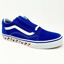 Vans Old Skool (Tri Checkerboard) Royal Blue True White Junior Youth Shoes - $47.95