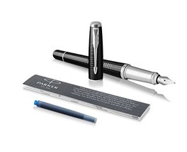 Parker Urban Fountain Pen, Premium Ebony Metal Chiseled, Medium Nib with Blue In - $113.00