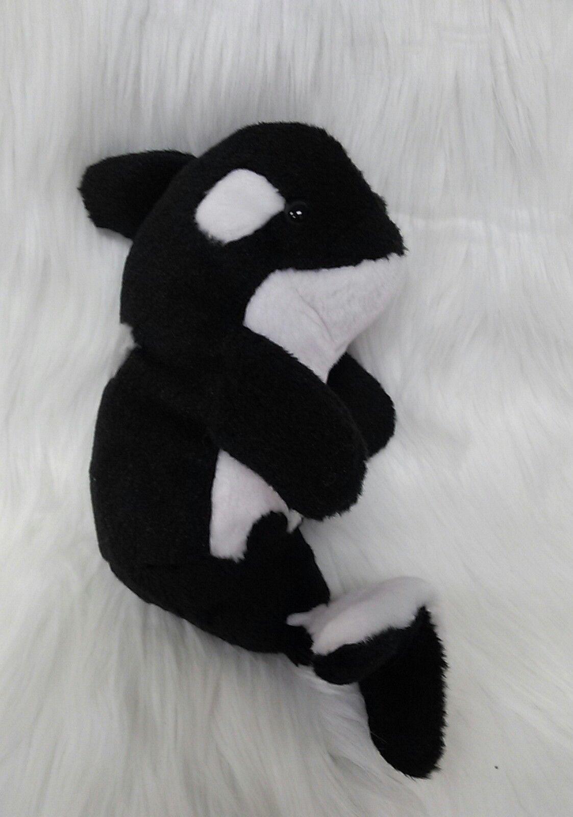 "12"" Orca Shamu Whale Black White The Petting Zoo 1994 Plush Stuffed Toy B278"