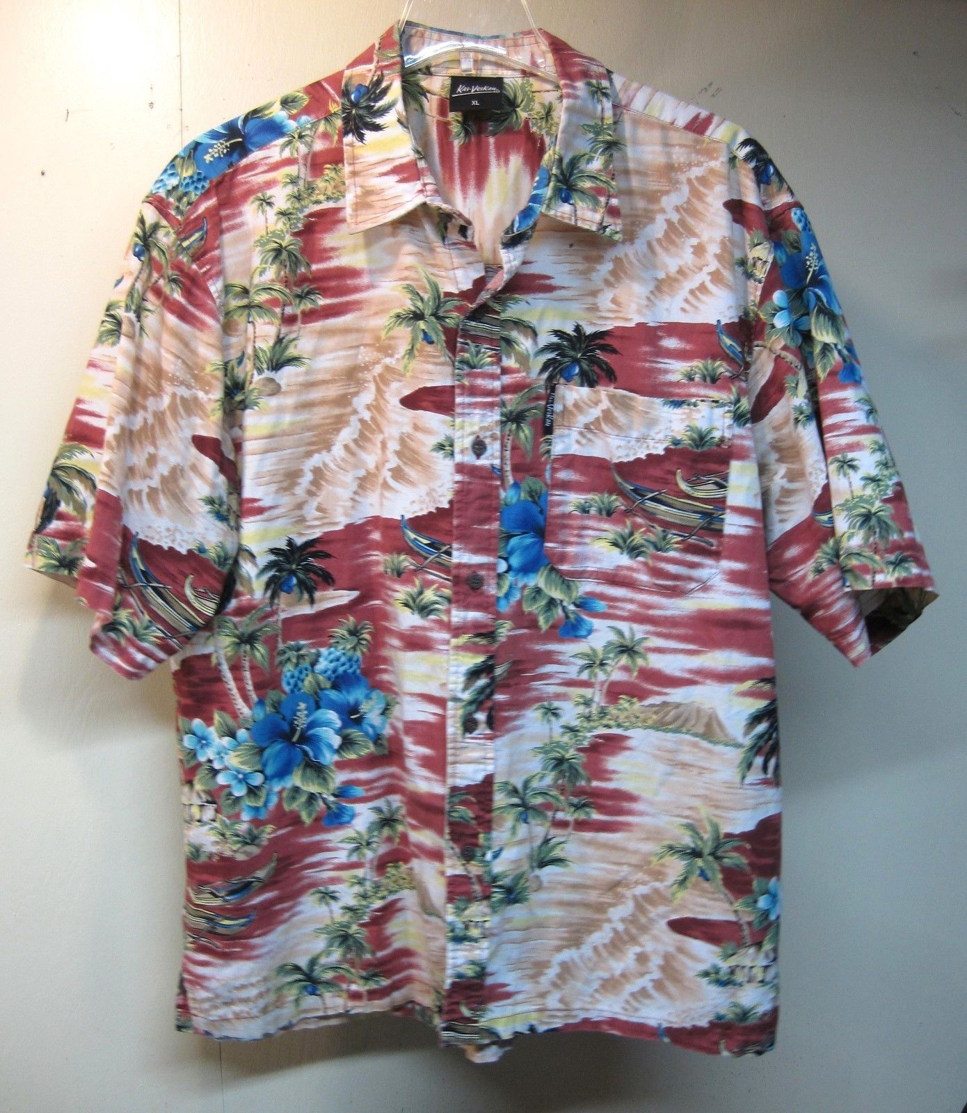 Primary image for Men's Hawaiian Shirt XL Kai-Veikau Fiji Outrigger Floral Valcano's Cotton B13