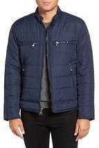 Andrew Marc New York Belknap Mens Blue Ink Quilted Biker Moto Bomber Jacket Coat - $67.49