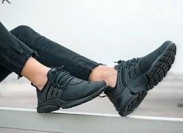 "NIKE AIR PRESTO PRM wmn USsz: 6(23cm) ""TRIPLE BLACK"" LEATHER Sneakers 87... - $129.99"