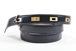 Lela Rose NWT $395 Navy Blue Gold Toned Hardware Double Wrap Belt SZ S - $60.00