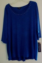 Notations Woman Blue Scoop Neck 3/4 Sleeve Shirt 1X Crystals at the Neck... - $35.63
