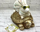 "Tortoise and Hare Figurine Telle M. Stein Statue 9"" Tall Stone Bunny Inc Turtle"