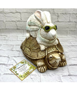 """Tortoise and Hare Figurine Telle M. Stein Statue 9"""" Tall Stone Bunny Inc Turtle - $34.64"""