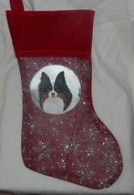 Tri Color Papillon Dog Hand Painted Christmas Gift Stocking Holiday Deco... - $36.00