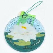 White Lotus Flower Fused Art Glass Ornament Sun Catcher Handmade Ecuador image 2